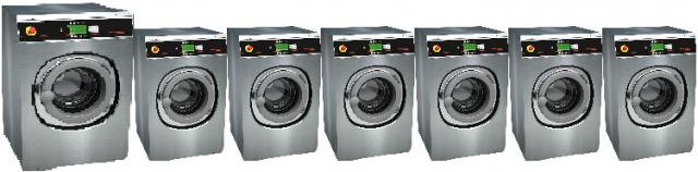 SpeedQueen investor wassalon 6 wasmachines inhoud SY65 6,5kg en 1 wasmachine SY105 10.5kg bij goud laundry solutions